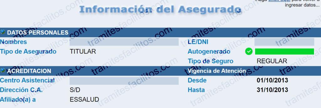 Código Autogenerado de Essalud Perú