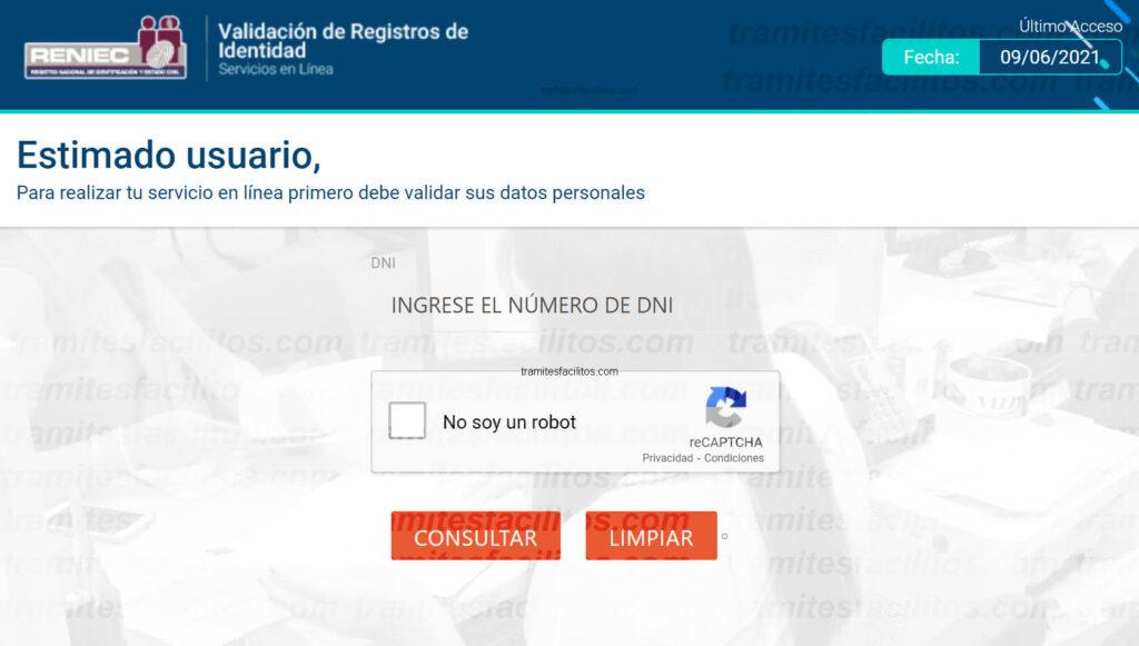 validación de registros de identidad reniec