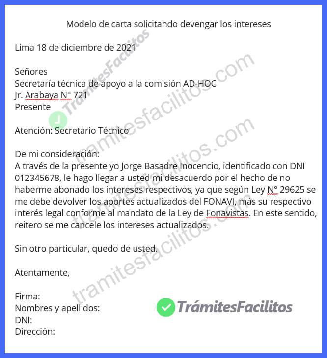 modelo de solicitud de reclamo al fonavi Perú