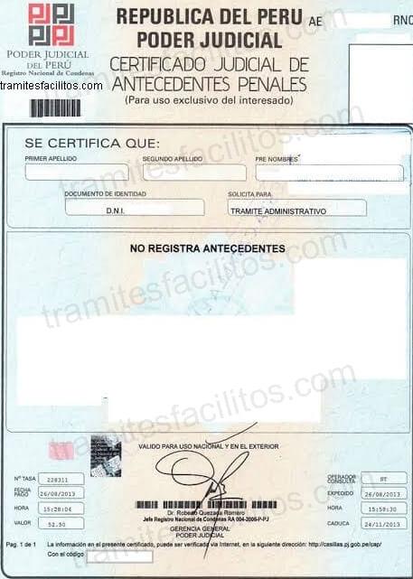 Modelo de certificado de antecedentes penales Perú