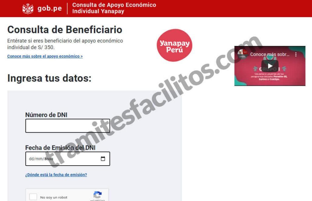 bono yanapai pagina web para consultar tramitesfacilitos peru