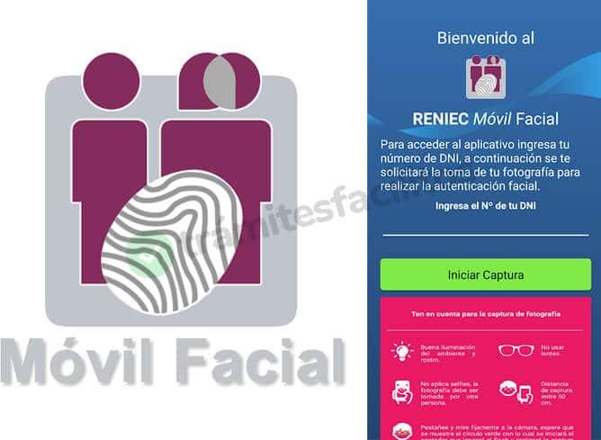 Logo y pantalla de inicio de aplicación RENIEC Móvil facial