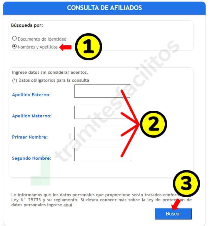 Consulta de afiliados SBS por nombres apellidos en Perú