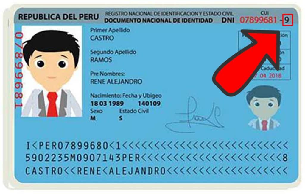 Dígito verificador en DNI azul Perú