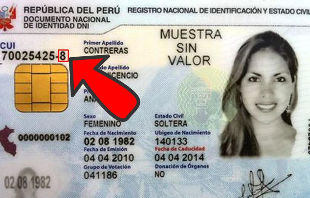 Dígito verificador en DNI electrónico Perú