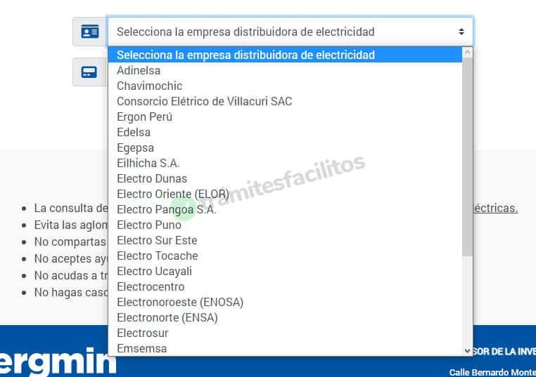 Lista desplegable con las empresas distribuidoras de electricidad en Perú