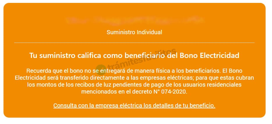 Mensaje: Ud es beneficiario del bono de electricidad