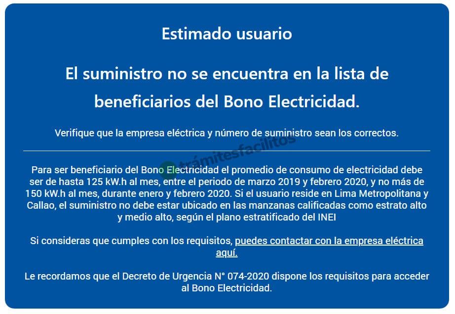 Mensaje: No es beneficiario del bono de electricidad