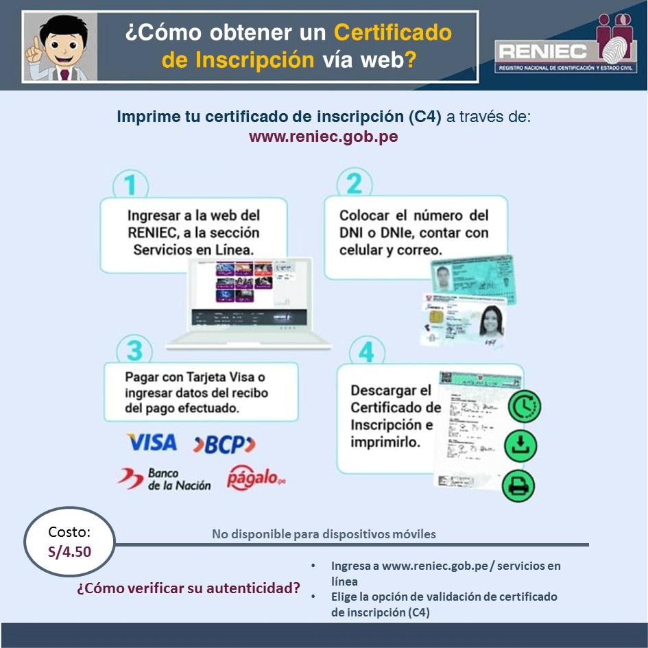 Pasos para obtener el certificado de inscripción C4 en la RENIEC de Perú