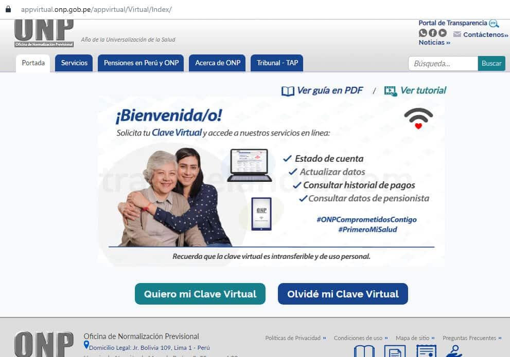Portal ONP para solicitar clave virtual