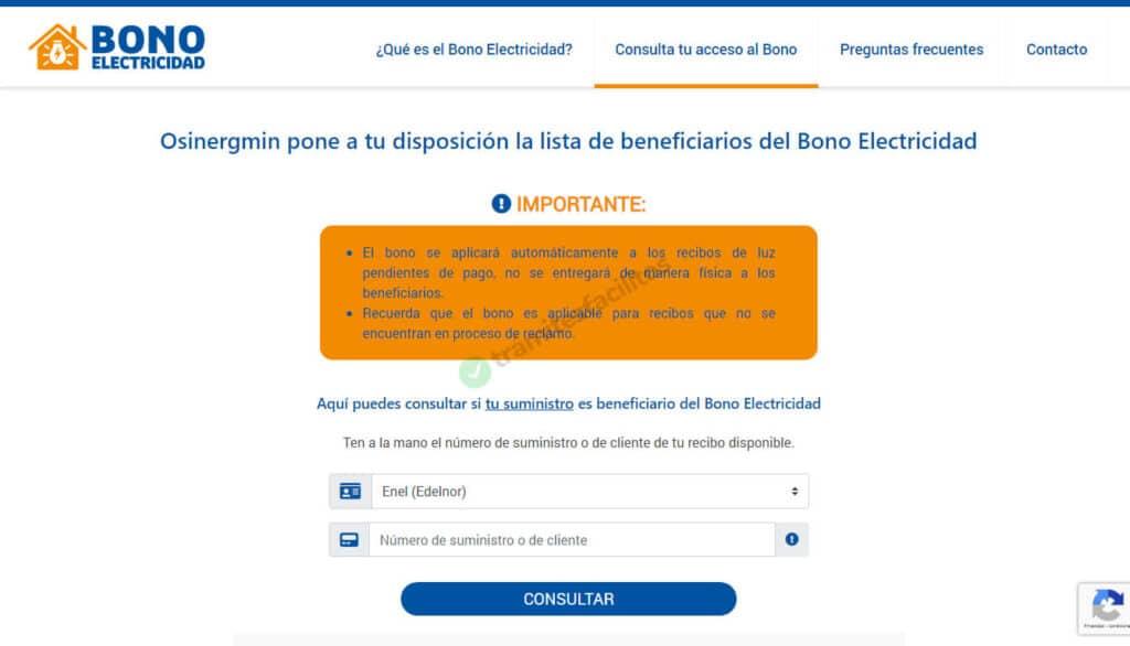 Página web del bono de electricidad de Perú