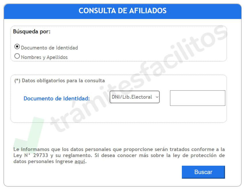 Página web de consulta de afiliados de la SBS Perú