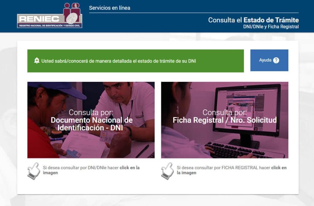 Portal Servicios en línea RENIEC > consulta estado de trámite dni