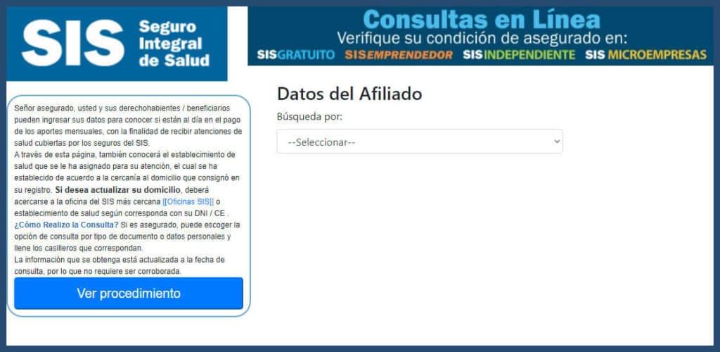 Página web para consulta el estado de acreditación al Seguro Integral de Salud