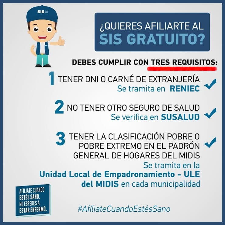 Requisitos para afiliarte al sis gratuito