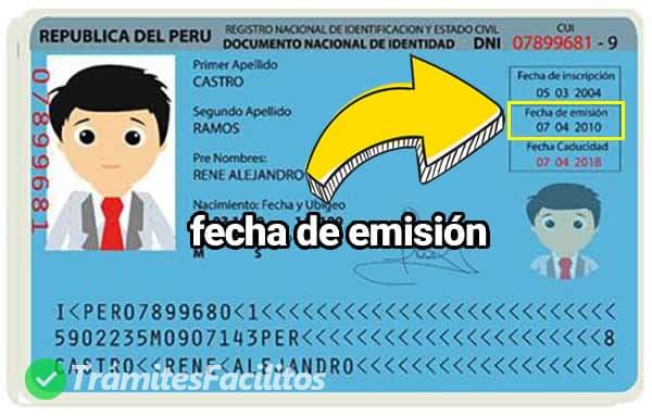 Ubicación de la fecha de emisión en el DNI peruano